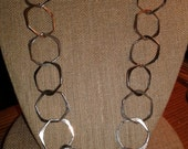 Large Circle Necklace Sterling Silver Vintage