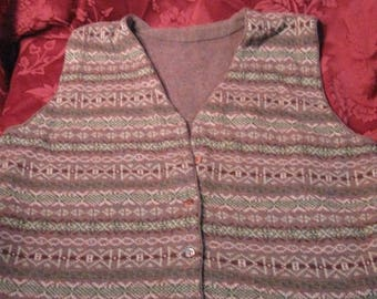 SALE Vintage 60's Fair Isle Wool Women's Cardigan Vest, lovely colour combination Chest 42''  Greens Olive Brown Ivory, flecks of blue rust