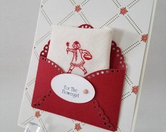 Flower Girl Flowergirl Vintage Wedding Handkerchief Accessory Thank You Lavender Basket Embroidery Keepsake Gift Hanky Card