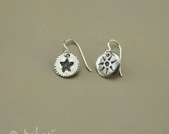Sun and Starfish Sterling Silver Earrings