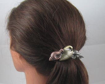 Conch Shell 80mm French Barrette- Seashell- Seaschell Barrette- Cruise Wear
