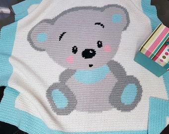 CROCHET Pattern - Baby Blanket Pattern - Cuddles Bear - Crochet Bear - Baby Crochet Afghan - Bear Crochet Chart - Crochet Graph