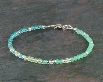 Delicate Faceted Multi Gemstone Bracelet, Spring Colors AAA Gems Apple Green Chrysoprase, Prehnite, Aqua Apatite, Handmade Stacking Bracelet