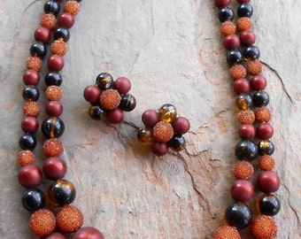 Vintage 1950's Hong Kong Brown Bead 2 Strand Necklace and Earrings