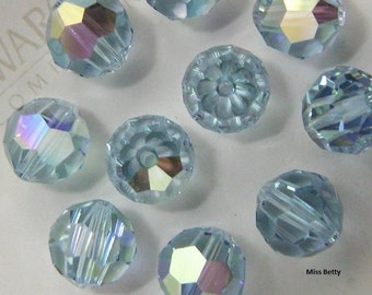 12 Swarovski 8mm Alexandrite AB (COLOR-CHANGING Crystal) Round, Article #5000 Crystals, New from Box, Vintage and Discontinued
