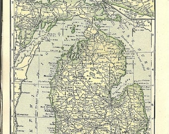 1907 State Map CHOICE - Indiana / Michigan State Map OR Wisconsin / Illinois Map - Color Tinted, Railroads & Towns - Antique State Map