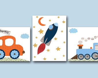 Orange Red Navy Blue Gray Car Train Rocket Canvas Wall Art Nursery Print Childrens Wall Art Baby Boy Nursery Art Nursery Decor Boy set of 3