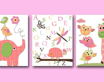 Pink Yellow Green Sticker Elephant Giraffe Canvas Print Wall Decal Baby Girl Nursery Alphabet Wall Art Baby Nursery Kids Room Decor set of 3