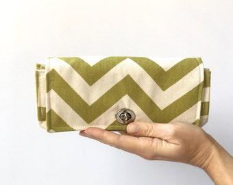 Green Women's Wallet - Foldover - Clutch Wallet With Card Slots - Foldover Canvas Wallet - Women's Wallet