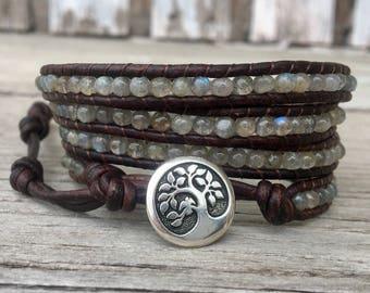 labradorite beaded leather wrap bracelet silver tree of life 4 strand wrap around boho bohemian