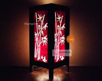 Asian Oriental Red Japanese Bamboo Zen Art Bedside Floor Table Lamp Desk Paper Light Shades Gift Living Bedroom Furniture Home Decor