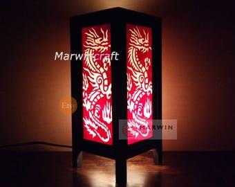 Asian Oriental Red White Yakuza Dragon Zen Art Bedside Floor Table Lamp Desk Paper Light Shades Gift Living Bedroom Furniture Home Decor