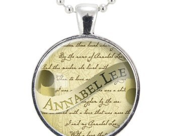 Edgar Allan Poe Necklace, Annabel Lee, Gothic Jewelry, Silver Plate (0381S25MMBC)