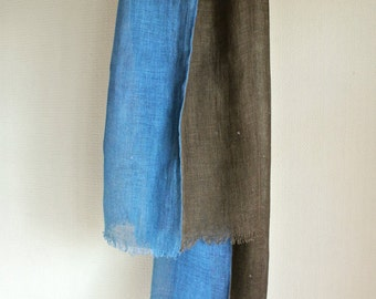 Natural dyed  Indigo blue and Brown Bayberry double faced Linen scarf