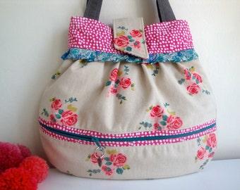 Floral   cotton Handbag - handmade - gift - girls - women - Liberty trim - small handbag  - external front pocket
