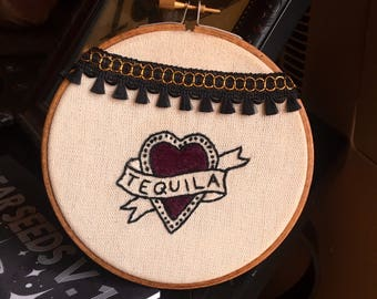 "Traditional tattoo flash style heart - Tequila - 5"" Embroidery hoop art - wall hanging - hand embroidery"