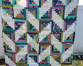 Large Twin Size or Full Size Modern Log Cabin Patchwork Quilt Green Blue Navy Purple Pink Bright Colorful Rainbow Floral