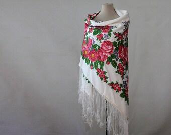 white floral silk shawl, white floral shawl, Russian shawl, silk blend, cotton floral shawl, white, blue pink, botanical shawl, autumn shawl