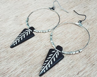 Painted Arrow Hoops- big silver hoop earrings with silver tube beads and a wooden painted arrow