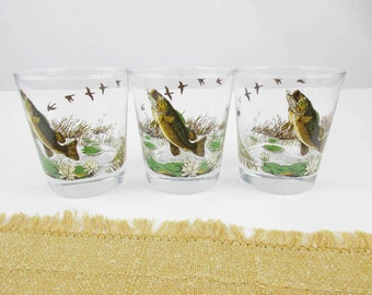 Bass on a Glass - Three 8 Oz. Rocks Glasses - 1960s Barware - Geese in a Marshy Background - Gold, Green, Brown, White - Bass Catching a Fly