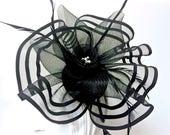 Black Kentucky Derby Fascinator, Fascinator  for Derby, Black Easter Hat, Black Church Hat