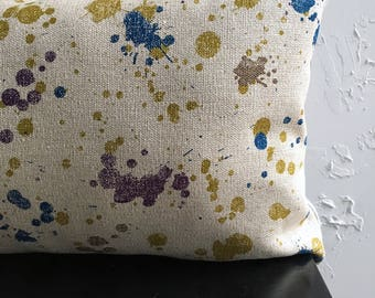 Paint Splatter Pillow Cover, 12x18, 12x20, Decorative Pillow Cover, Blue Paint Lumbar Pillow, Paint Drips, Throw Pillow Covers
