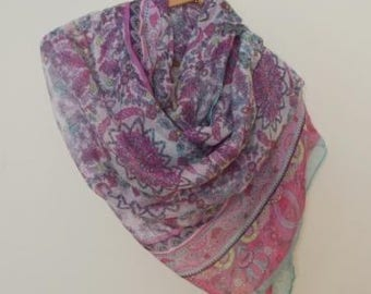 Spring scarf purple / pink / gray / light green mosaic print,  Women, Lightweight Scarf, Gift Ideas for Her