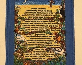 Vintage Printed Tea Towel Footprints Poem