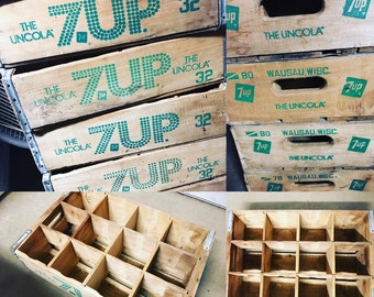 1 Vintage Seven Up 7up The Uncola Wood Soda Crate Wausau Wisconsin 12 Dividers