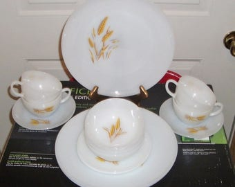 Vintage Fire-King Oven Ware Wheat Pattern Platter, Plates, Cups, Saucers, Bowls