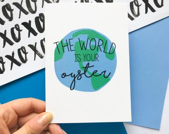 Fun 'The World Is Your Oyster' Travelling World Card // Travel // Good Luck // New Job // Congratulations // Celebration