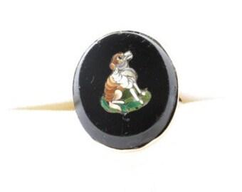 Victorian Dog Micro Mosaic Ring