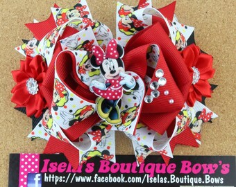 Minnie Inspired boutique bows /HANDMADE