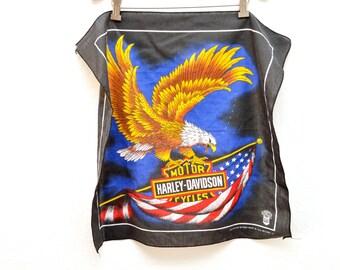 80s Harley Davidson Bald Eagle USA Motorcycle Scarf Bandanna Black Patriotic
