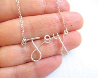 Joy necklace, silver wire word necklace, silver necklace, wire work jewelry, word necklace, silver sterling