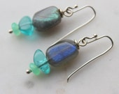 sterling silver labradorite, apatite ,chrysoprase earrings- flash green & blue-handmade sterling french ear wire-Pantone Color 2017-Greenery