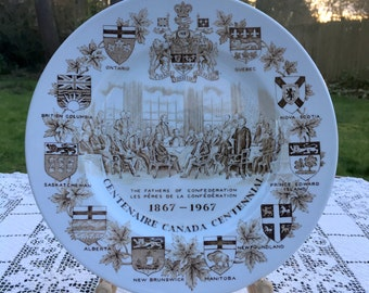 """Canadian Centennial/1967 Canadian Plate/Woods & Sons Plate/Centenaire Canada/Commemorative Plate/Made in England 10""""/Brown On White/VG Cond"""