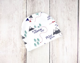 PNW Baby Hat - Organic Baby Beanie with Multi Colored Pacific Northwest Print - Washington, Oregon, British Columbia - Ready to Ship!