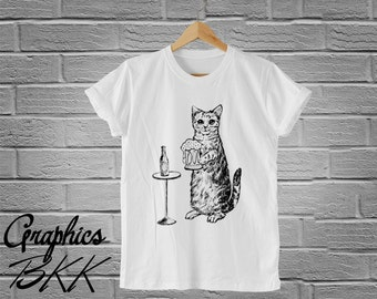CAT loves Beer T-Shirt Unisex T-Shirt cat t-shirt kitten T-Shirt funny slogan shirt unisex tee (S-XL) Free Shipping