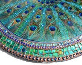 Customer order for Jane morpeth- LARGE Peacock feather fan inlay, STRING ART & mop table, mosaic art