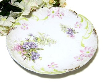 Antique Weimar Germany Hand Painted Floral Serving Plate
