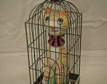 Cat in Cage: OOAK mixed media folk art sculpture