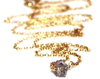Reserved for DK Pink Diamond Nugget Necklace Raw Diamond Necklace Delicate Jewelry Real Diamond Jewelry Authentic Diamond Stacking Bridal