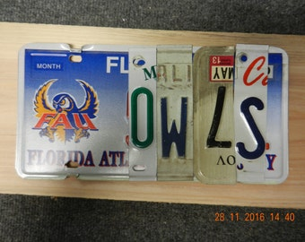 FAU Owls License plate sign  (Made to Order)