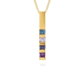 14K Solid Gold Personalized 4 Stone Mothers Necklace with Birthstones Vertical Bar Necklace Delicate Jewelry