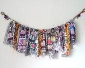 Aztec garland, gemetric pattern garland, bohemian decor, raggy garland, upcycled decor, ecofriendly decor