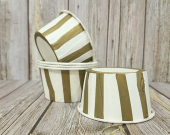 Candy Cups - GOLD Stripe Baking cupcake liners grease proof muffin cups Candy cup  Icecream treat dessert portion cups - (24) count
