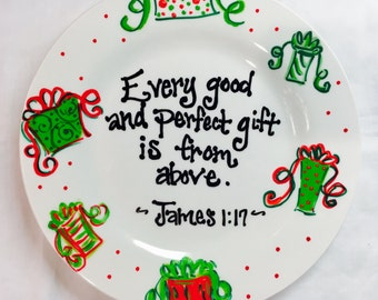 Christmas Hand Painted Holiday Plate