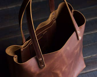 American Leather Tote // Handcrafted in USA // Buttery Rust Leather Bag