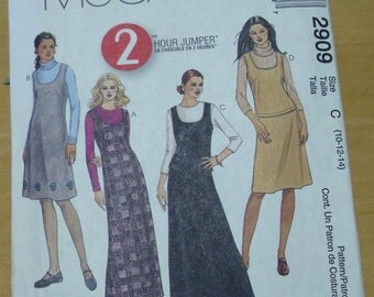 FREE SHIPPING! McCall's 2909 one and two piece jumper dress sewing pattern 10 12 14 UNCUT
